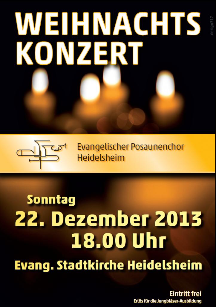 Am 22. Dezember um 18:00 Uhr findet in der  Stadtkirche Heidelsheim das Weihnachtskonzert des evangelischen Posaunenchors statt. Der Eintritt ist frei, Spenden kommen der Jungbläser-Ausbildung zugute. Herzliche Einladung an alle!
