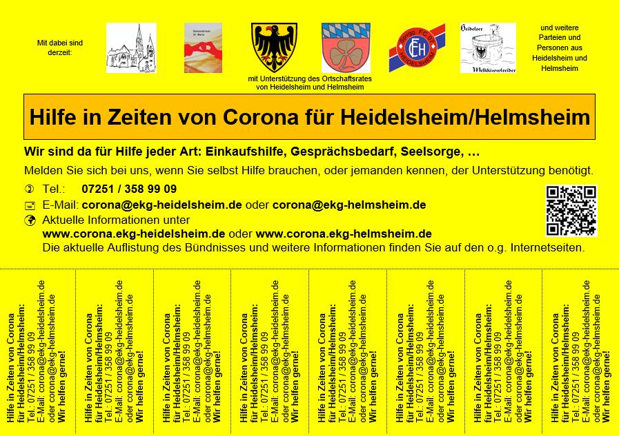 Plakat Hilfsangebot Heidelsheim/Helmsheim